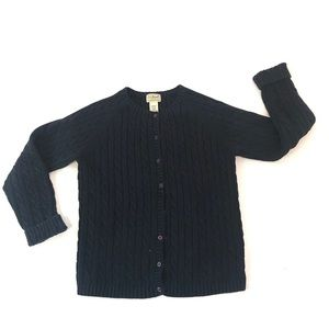 L.L. Bean Cardigan Sweater Button Down Cable Knit
